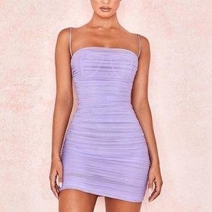 Elegant Sleeveless Violet Draped Mini Club Dress